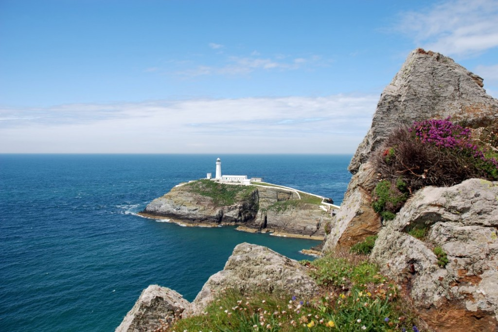 A view of Southstack Lighthouse on Anglesey in North Wales.