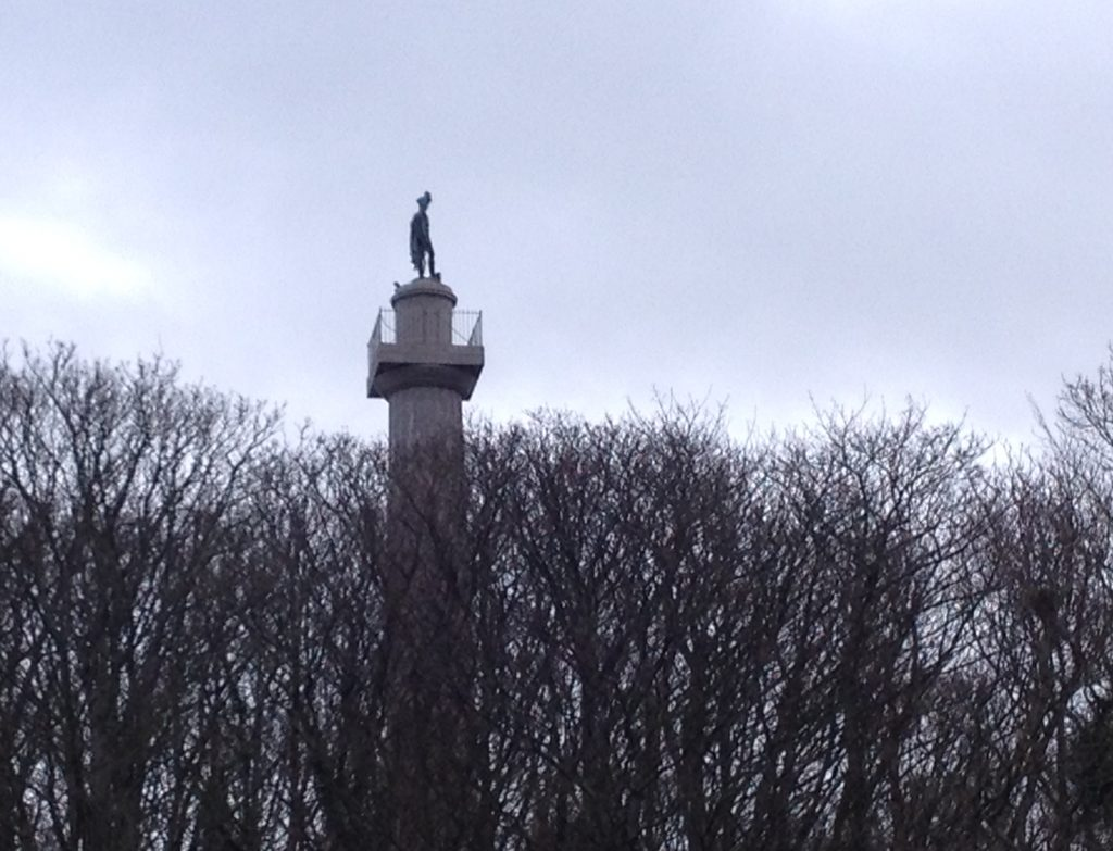 statue of Marquis of Anglesey on a column above trees