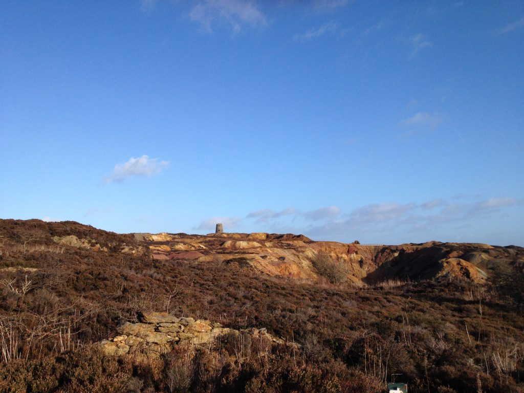 landscape with derelict windmill at Parys Mountain copper mines