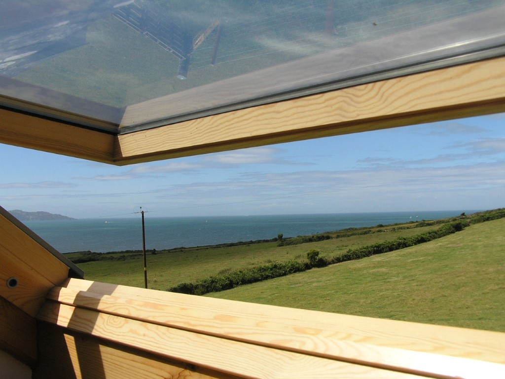 Sea view across fields from window Anglesey B&B